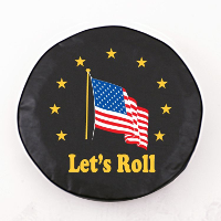 American Flag Let's Roll Black Spare Tire Cover