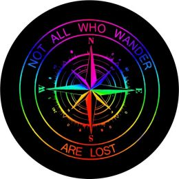 Not All Who Wander Rainbow Compass Tire Cover