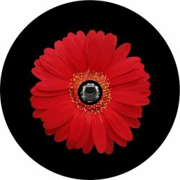 Red Sun Flower Spare Tire Cover - Back Up Camera Ready