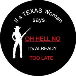 Texas Woman Tire Cover on Black Vinyl
