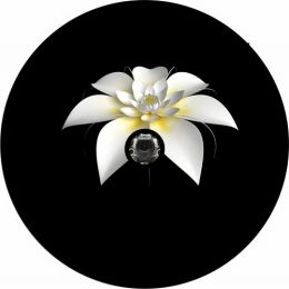 White Flower Spare Tire Cover - Back Up Camera Ready